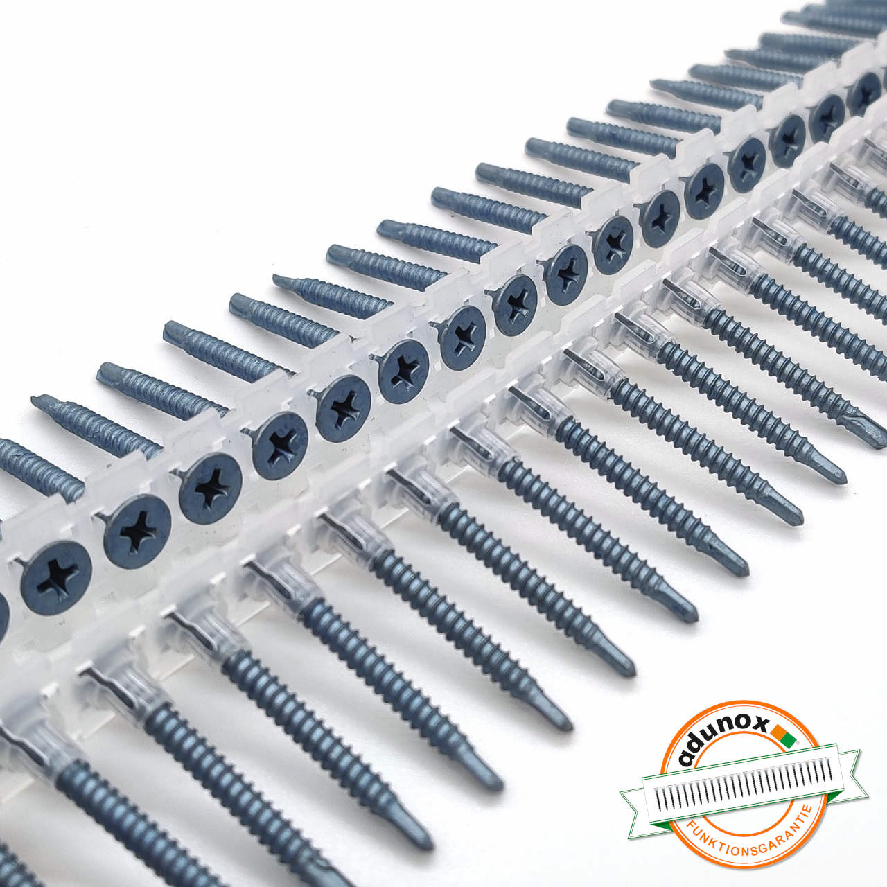 Magazinierte BLUEfast500® Schnellbauschrauben | Bohrspitze