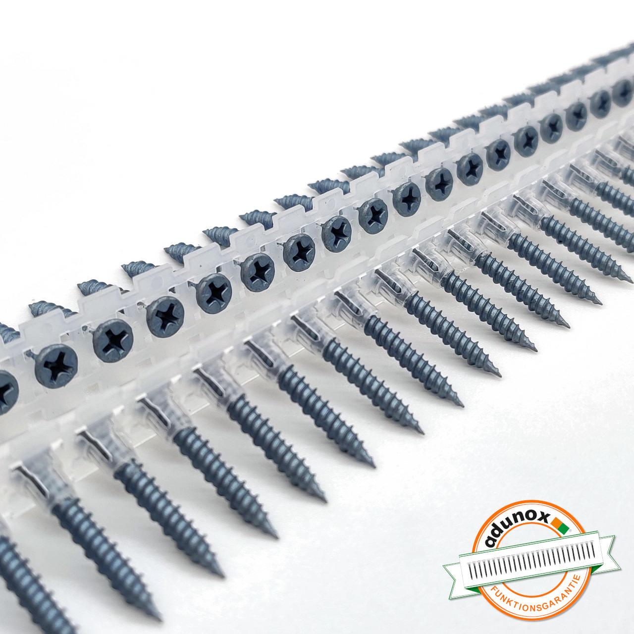 Magazinierte BLUEfast500® Faserplattenschrauben | Hi-Lo-Gewinde